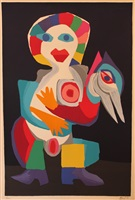 clown with a bird by karel appel
