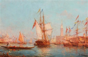 """venetian scene"" and ""sailing by the promenade"" by leopold ziller"