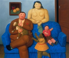 family on a couch by fernando botero