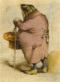 a frog in an overcoat, holding a top hat and cane by jean ignace (isidore gérard) grandville