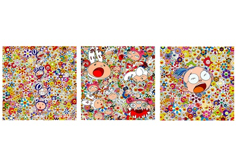 new day triptych set of 3 by takashi murakami