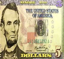 lincoln and five dollar bill by steve kaufman