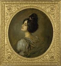 portrait einer jungen dame by franz seraph von lenbach