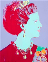queen margrethe ii of denmark (violet) from the reigning queens by andy warhol