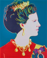 queen margrethe ii of denmark (teal) from the reigning queens royal edition with diamond dust of 1985 by andy warhol