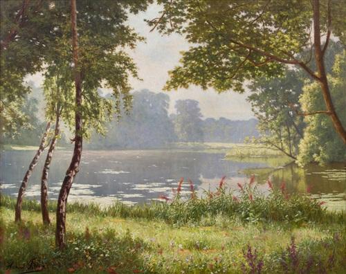 paysage avec étang by henri biva