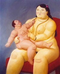 mother and child by fernando botero