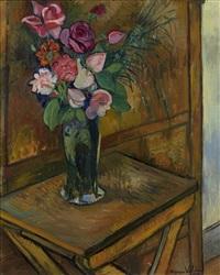 vase de fleurs sur une table by suzanne valadon