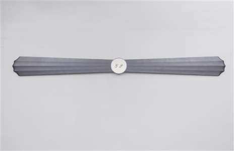 pearl purple-gray propeller-wing with initialed silver plate by gianni piacentino