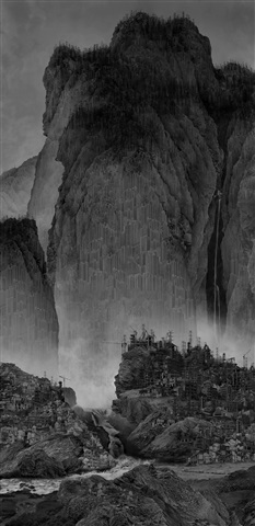 artificial in wonderland ii, travelers among mountains and steams by yang yongliang