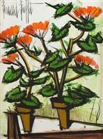 deux pots de géraniums by bernard buffet