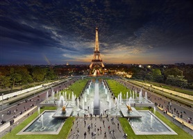 eiffel tower, paris, day to night by stephen wilkes