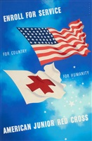 enroll for service, american junior red cross, poster illustration by joseph binder