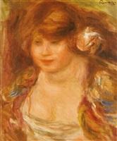 femme à la rose, andrée by pierre-auguste renoir