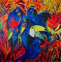 lady gouldian by hunt slonem