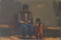 man with child by josef herman