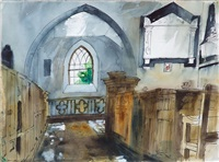 church interior, manordeifi by john piper