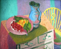 still life on a painted chest by glyn morgan