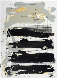 champs (gray, black and green) by joan mitchell