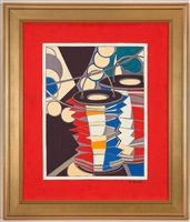 red, white and blue lanterns by françoise gilot