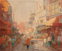 chinatown street scene by george thompson pritchard