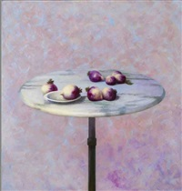 marble bistro table with turnips by barend blankert