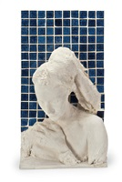 woman against a blue tile wall by george segal