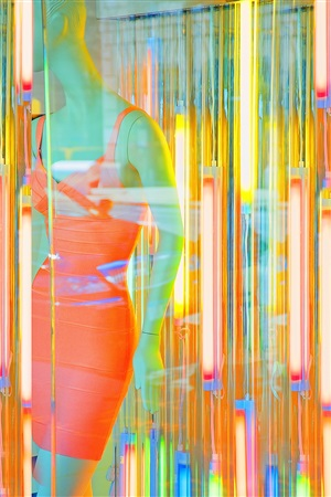 mannequin with fluorescent bulbs by mitchell funk
