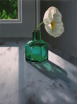 poppy in green bottle by bruce cohen