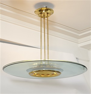 belle suspension en verre et laiton doré - beautiful glass and gilt brass chandelier by fontana art and max ingrand