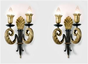 paire d'appliques en fer forgé patiné - pair of patinated wrought iron wall-sconces by gilbert poillerat