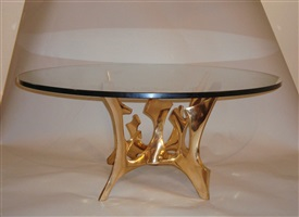 table basse circulaire en bronze poli - polished bronze circular coffee table by fred brouard