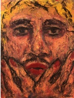 portrait of young chicano artist as a blonde with lipstick by federico correa