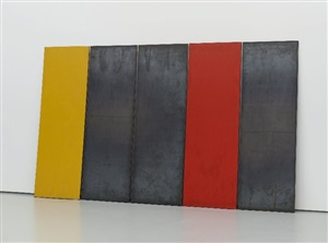 steel drawing, 5 plates: one red, one yellow by richard nonas