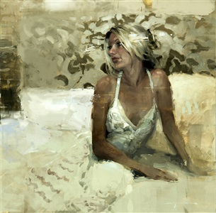 a white evening dress by jeremy mann