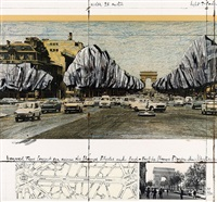 wrapped trees, project for the avenue des champs-elysées, paris by christo and jeanne-claude