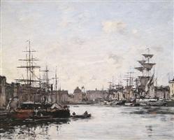 le havre, le bassin du commerce by eugène boudin