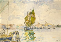 venise, voilier sur le canal de la giudecca by henri edmond cross