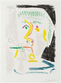 fumeur à la cigarette verte (smoker with green cigarette) by pablo picasso