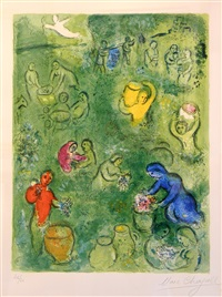 the wine harvest by marc chagall