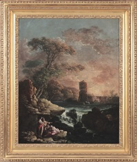 pair of arcadian landscapes with ruins and flora by carlo bonavia