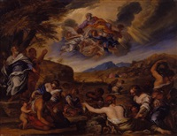 moses striking the rock and the gathering of manna by giacomo cotta