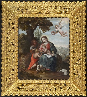 the holy family with the infant st. john the baptist by diego quispe tito