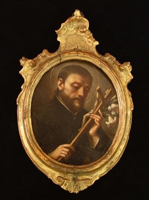 saint luigi gonzaga with lilies and crucifix by domenico maria viani