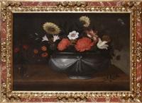 a pair of floral still-lifes by pedro de camprobin