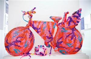 crocheted object- bicycle by olek