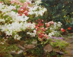 spring garden with azalea by kathy anderson