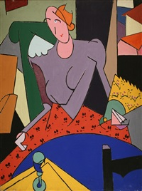donna alla poltrona verde by alberto magnelli