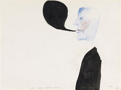 man saying absolutely nothing by david hockney