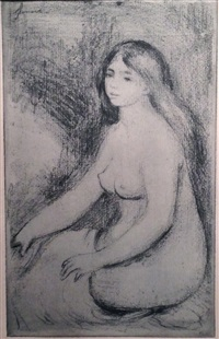 baigneuse assise by pierre-auguste renoir